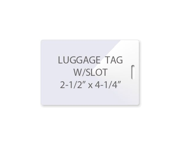 Luggage Tag Laminating Pouches With Slot On Short Side